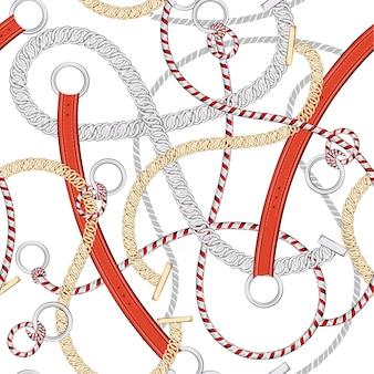 Modny wektor lato nautyczny nastrój wektor bez szwu deseń z łańcucha liny morza i pasa