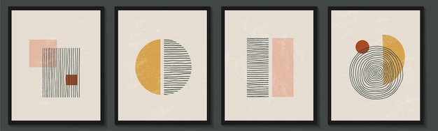 Modny współczesny zestaw abstrakcyjnej geometrycznej minimalistycznej kompozycji artystycznej