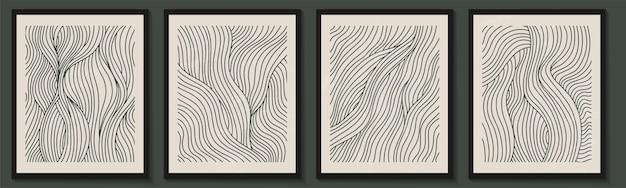 Modny współczesny zestaw abstrakcyjnej geometrycznej minimalistycznej kompozycji linii