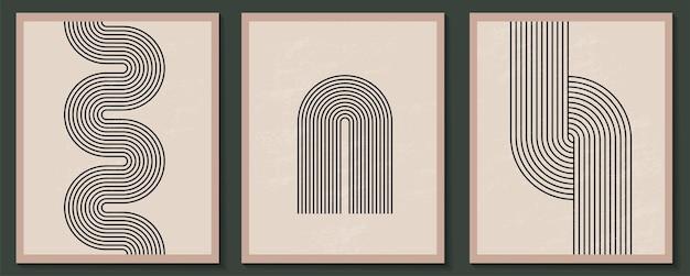 Modny współczesny zestaw abstrakcyjnej, kreatywnej geometrycznej, minimalistycznej, artystycznej, ręcznie malowanej kompozycji