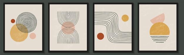 Modny współczesny zestaw abstrakcyjnych geometrycznych minimalistycznych kształtów kompozycji