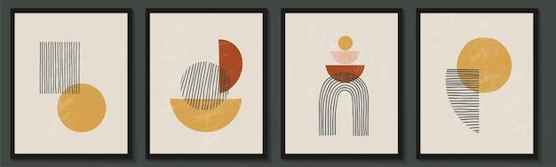 Modny współczesny zestaw abstrakcyjnych kreatywnych geometrycznych minimalistycznych plakatów