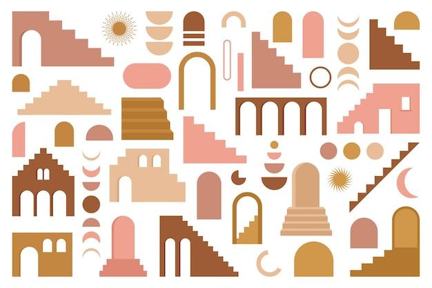 Modny współczesny zestaw estetycznej architektury geometrycznej boho