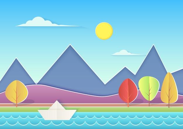 Modny wycięty z papieru krajobraz z górami, wzgórzami, rzeką, papierowym statkiem i drzewami. letni krajobraz
