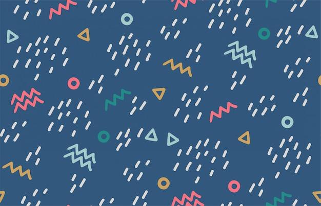 Modny wzór w stylu memphis. kolorowy geometryczny bezszwowy wzór w stylach 80's-90's.
