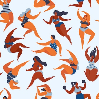 Modny wzór z dziewczętami w letnie stroje kąpielowe. ciało pozytywne. wzór.