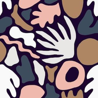 Modny wzór z niezwykłymi kształtami natury różowe i brązowe lub znaków na ciemnym tle. kreatywne jasne kolorowe tło wektor w płaski do pakowania papieru, tapety, nadruku na tkaninie.
