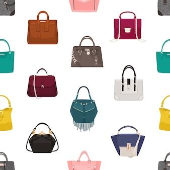 Modny wzór z stylowymi damskimi torebkami lub torebkami różnych modeli na białym tle. tło z modnymi skórzanymi dodatkami. ilustracja do druku tekstyliów, tapety.