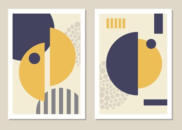 Modny zestaw abstrakcyjnych geometrycznych kształtów w minimalistycznym stylu, świetna dekoracja ścian, kartek, broszur, opakowań, okładek. ilustracji wektorowych