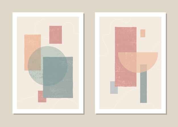 Modny zestaw abstrakcyjnych geometrycznych kształtów w minimalistycznym stylu