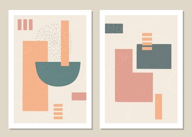 Modny zestaw abstrakcyjnych geometrycznych kształtów w minimalistycznym stylu.