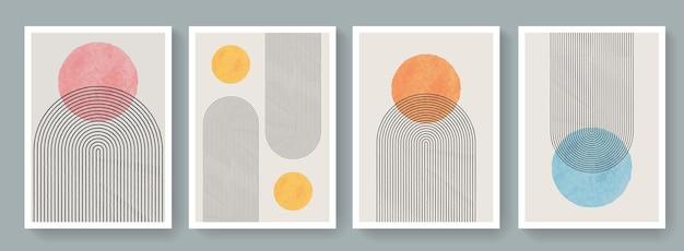 Modny zestaw geometrycznych, minimalistycznych, nowoczesnych plakatów z połowy wieku. streszczenie tła w stylu boho. śliczne kolorowe minimalistyczne plakaty sztuki współczesnej.
