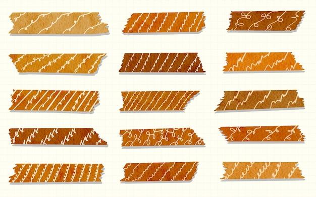 Modny zestaw kolorowej stylowej taśmy washi izolowane ręcznie rysowane akwarela