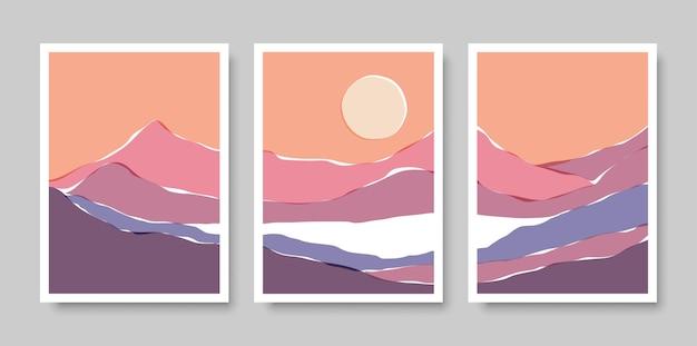 Modny zestaw minimalistycznego krajobrazu abstrakcyjnych organicznych kształtów kolażu