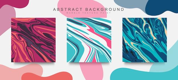 Modny zestaw okładek streszczenie płynny marmur tekstura nowoczesny design. mieszanka kolorów tekstury marmuru.