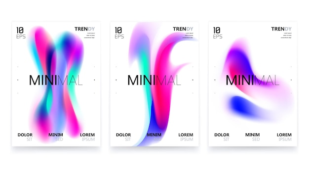 Modny zestaw plakatów z płynnym gradientem