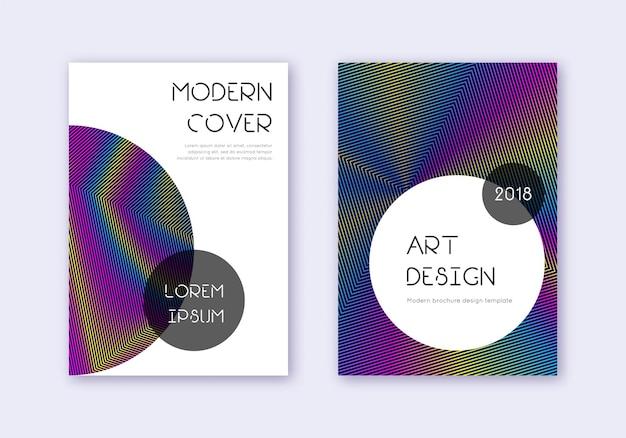 Modny zestaw szablonów projektu okładki. tęcza streszczenie linie na ciemnym niebieskim tle. pełen wdzięku projekt okładki. stylowy katalog, plakat, szablon książki itp.
