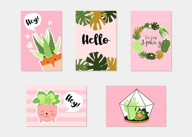 Modny zestaw transparent tropical summer lub floral