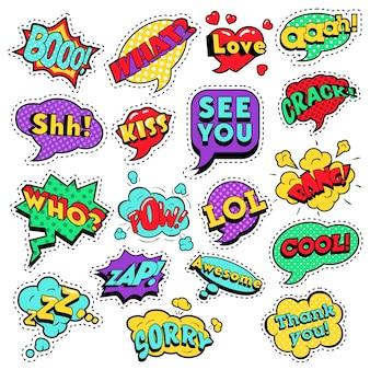 Modowe odznaki, naszywki, naklejki w komiksowych dymkach w stylu pop art z kropkami w półtonach fajne kształty z wyrażeniami cool bang zap lol. retro tło