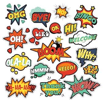 Modowe odznaki, naszywki, naklejki w komiksowych dymkach w stylu pop-art, zestaw fajnych kształtów z kropkami półtonów z wyrażeniami wow, bingo, like. retro tło