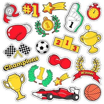 Modowe odznaki, naszywki, naklejki w stylu comic style champions z kubkami, medalami i sprzętem sportowym. retro tło