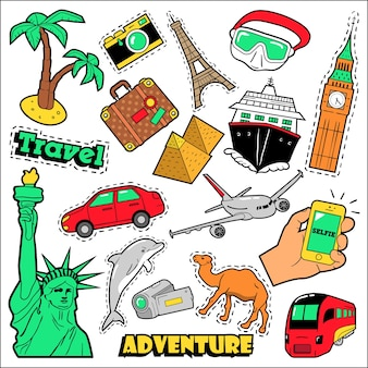 Modowe odznaki podróżne, naszywki, naklejki. architektura, przygoda, światowy rejs w stylu komiksowym. ilustracja