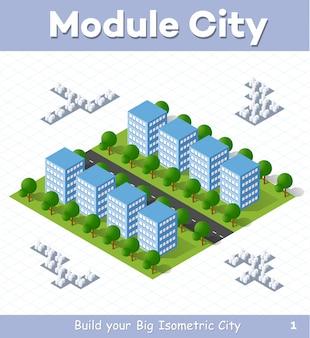 Moduł miejski do budowy i projektu dużego izometrycznego miasta
