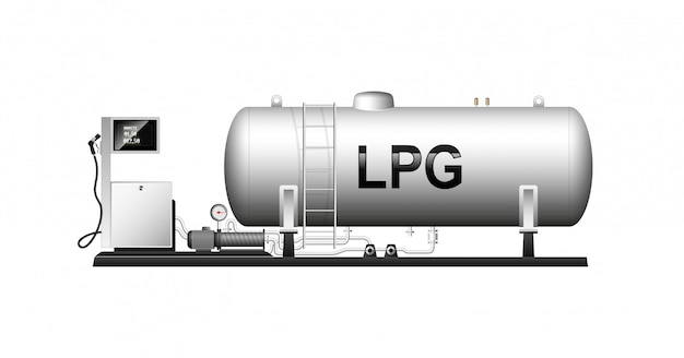 Modułowe napełnianie samochodów gazem skroplonym. duży cylindryczny cylinder z gazem ziemnym. ciekły gaz z ropy naftowej. kolumna z wężem do tankowania samochodów.