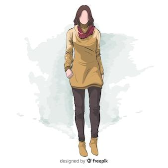 Mody ilustracyjna ręka rysujący projekt