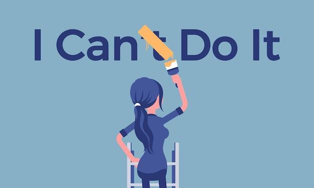 Mogę to zrobić plakat motywacyjny. kobieta korygująca negatywną konstrukcję gramatyczną na pozytywną, aby wyrazić entuzjazm i chęć zrobienia czegoś, chęć i energię. ilustracja wektorowa