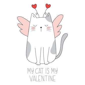 Mój kot to moja walentynka śmieszny kot ze skrzydłami i sercami śmieszne doodle zwierzątka happy valentines day