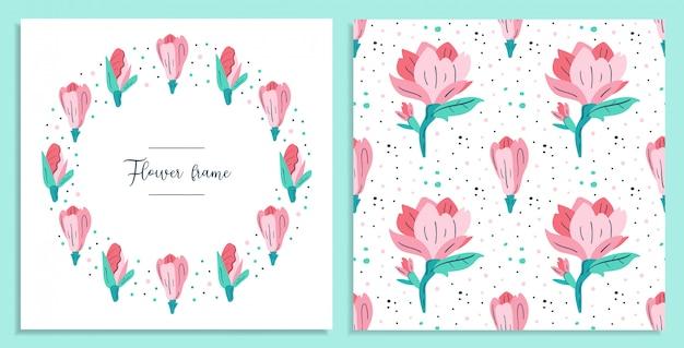Mój mały kwiatek. małe pocztówki z różowymi kwiatami magnolii. elementy projektu flora. dzikie życie, kwitnące kwiaty, rośliny botaniczne. płaski kolorowy ilustracja ikona naklejki na białym tle