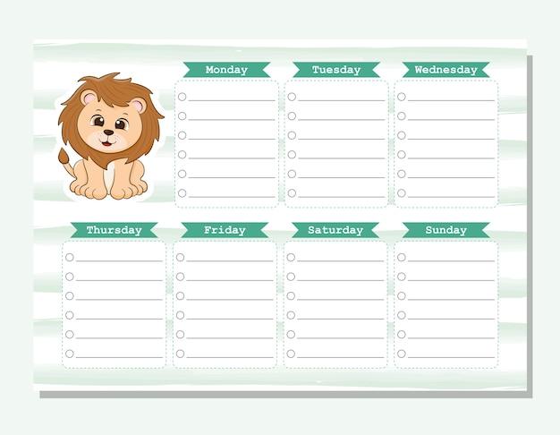 Mój tygodniowy planer lion
