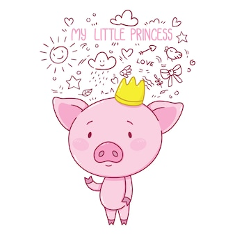 Moja mała księżniczka. urocza świnka w koronie.