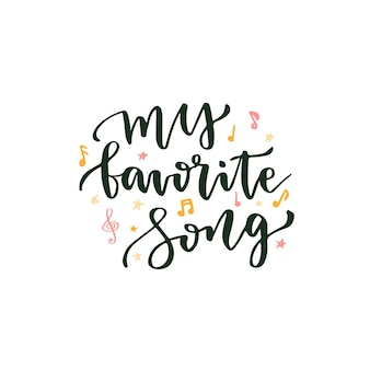 Moja ulubiona piosenka. Strony napis o muzyce. Napis wektor plakat na blogu ikona lub banner
