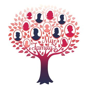 Moje drzewo genealogiczne rodziny na białym tle
