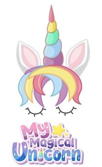 Moje magiczne logo jednorożca w pastelowym kolorze z uroczym jednorożcem