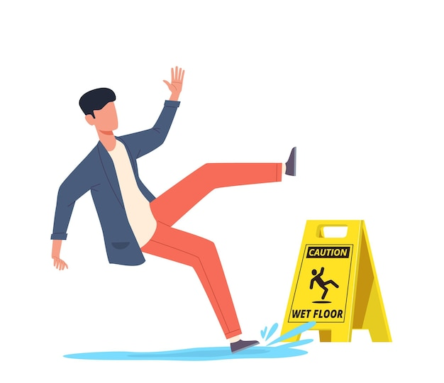 Mokra podłoga. spadający człowiek ześlizguje się w wodzie, poślizgnięcie się i upadek, ranny niezrównoważony charakter, obrażenia ciała, niebezpieczne upuszczenie, ostrożność niebezpieczeństwo żółty znak kreskówka wektor koncepcja