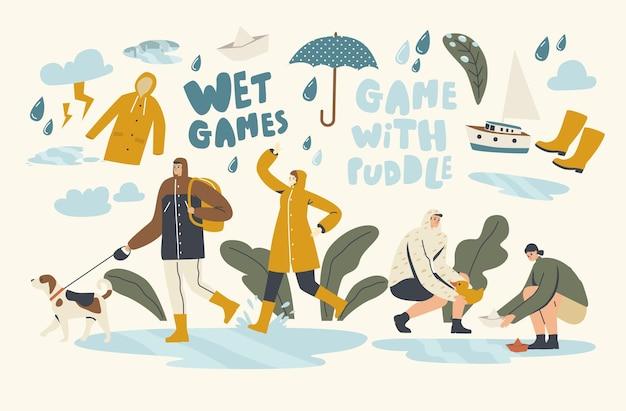 Mokre gry z kałużami w deszczową jesień lub wiosenny dzień, pogoda. szczęśliwy przemoczony przechodzień noszący płaszcze z parasolami chodzący w deszczu, woda leje się z nieba. ilustracja wektorowa ludzi liniowych