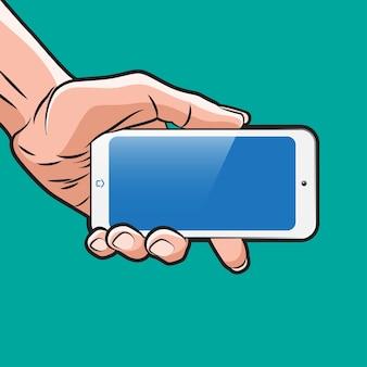 Mokup w stylu popart ze smartfonem w dłoni