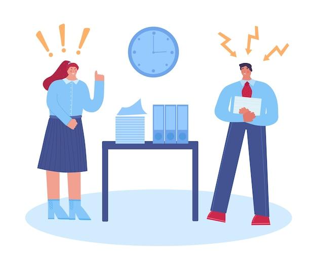Molestowanie w miejscu pracy. kobieta szef krzyczy na pracownika. .