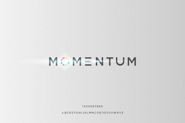 Momentum, abstrakcyjna futurystyczna czcionka alfabetu z motywem technologicznym. nowoczesny minimalistyczny projekt typografii