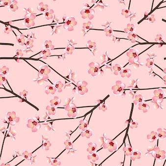 Momo brzoskwiniowy kwiat bez szwu na różowym tle