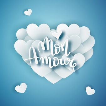 Mon amour wektor odręcznie tekst kartkę z życzeniami