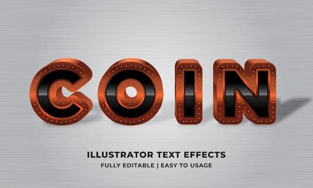 Moneta - brązowy metaliczny efekt tekstowy 3d