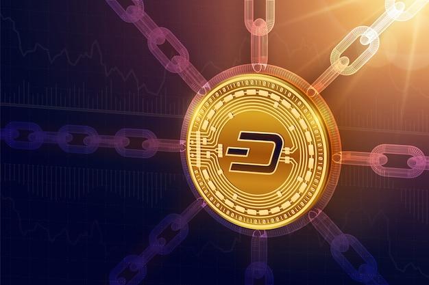 Moneta fizyczne dash z łańcuchem szkieletowym. koncepcja blockchain.