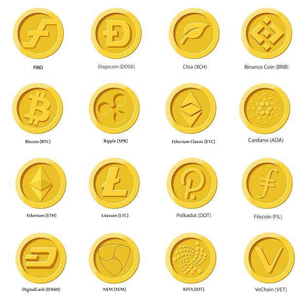 Moneta Ikony Kryptowalut. Zestaw Cyfrowych Pieniędzy Na Aplikacje, Strony Internetowe Lub Logo. Płaskie Ilustracje Premium Wektorów