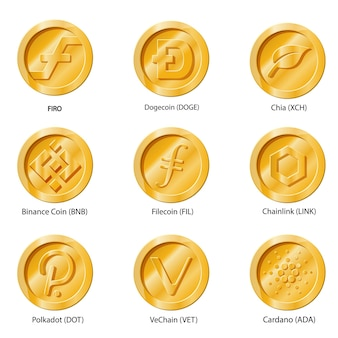 Moneta ikony kryptowalut. zestaw cyfrowych pieniędzy na aplikacje, strony internetowe lub logo. płaskie ilustracje