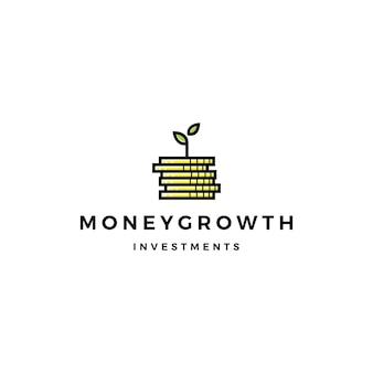 Moneta liść kiełkować pieniądze wzrostu inwestycji logo
