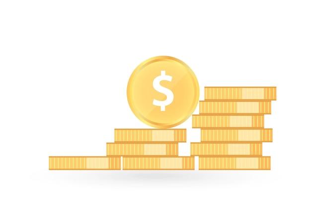 Monety dolar. stos złotej monety. kupa złotego grosza, sterta skarbów
